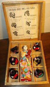Vintage Katsuraningyo Doll w/6 Wigs in Original Wood Box - made in Japan