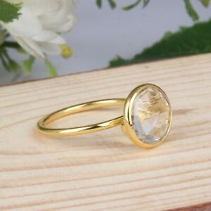 Clear Crystal Quartz Gemstone Yellow Gold Plated 925 Silver Stackable Rings