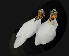 White Feather Earrings with Large Diamanté Feature