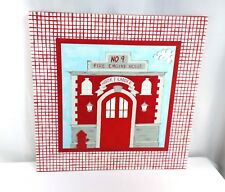 """LARGE CANVAS Fire Engine House Picture Kids Room Firefighter Decor 24"""" X 24"""""""