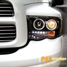 NEW For 2002-2005 Dodge RAM 1500 2500 3500 Halo Projector LED Headlights Black