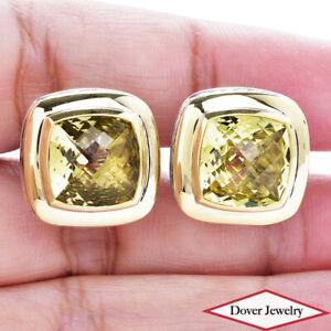 David Yurman Lemon Citrine 18K Gold Sterling Silver Albion Earrings 16.7 GrNR