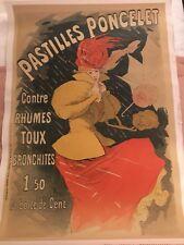 """Original Vintage Jules Cheret Poster """"Pastilles Poncelet"""" 1900"""
