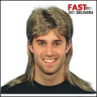 1980's Mullet Wig Brown with Blonde Highlights Fancy Dress Pat Jason 80's