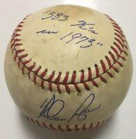 NOLAN RYAN Signed Autographed Baseball Beckett BAS Q69586 383 Ks In 1973 Inscrip