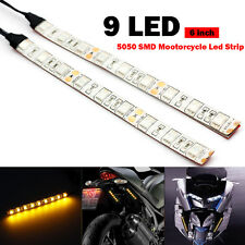 2x Motorcycle 9 LED Flexible Strip Blinker Flasher Front Rear Turn Signal  Amber