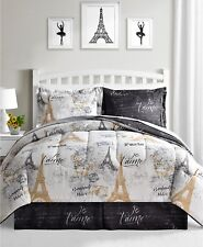 Paris Eiffel Tower, Black, White & Gold Reversible Twin Comforter Set (6 Pc)