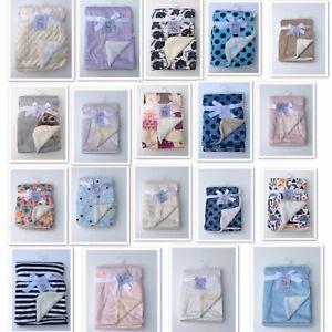 Newborn Soft Baby Blanket Crib Pram Cot Boys Girls Infant Fleece Fur Back
