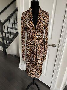 Diane von Furstenberg Silk Wrap Tie Leopard Print Dress - Size 8 DVF