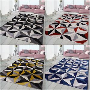 100% Polypropylene Pile Mat Soft Thick Living Room Bedroom Carpet Geometric Rugs