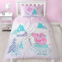 Peppa pig Sugarplum Housse Couette Simple Set Réversible Stars Neige Fairy Kids