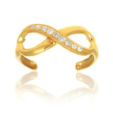 Adjustable Toe Ring Body Jewelry 10k Solid Gold Cubic Zirconia Infinity