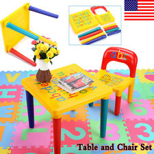 1 Set Table & Chairs Plastic DIY Kids Set Play Toddler Activity Fun Child Toy US