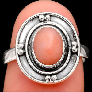 Natural Pink Opal - Australia 925 Sterling Silver Ring s.7.5 Jewelry 3284
