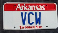 """ARKANSAS VANITY LICENSE PLATE """" VCW"""" VICTOR VANCE VAL VALERIE WILLIAMS WEST WRAY"""