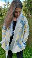 QUILT JACKET Women's BurningMan Style Upcycled Festival Boho Faux Fur Trim Small