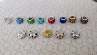 925 Sterling Silver Crystal Shamballa Disco Charm Fits European Bead Bracelet