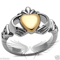 Women's Rose Gold IP Heart Shaped Claddagh Ring No Stone TK1156