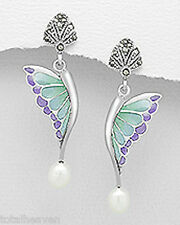 "Butterfly Earrings Friction Backs 4g 1.6"" Sterling Silver Marcasite Enamel Pearl"