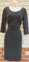 G21 BLACK SILVER GOLD GLITTER LONG SLEEVE SPARKLY STRIPED BODYCON PARTY DRESS 10