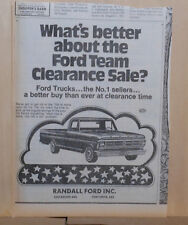 1972 newspaper ad for Ford - Ford Pickup truck, Team Clearance Sale