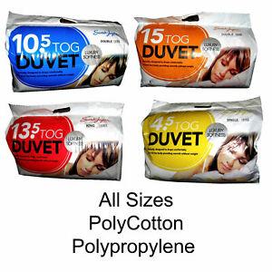 Polycotton Duvet UK Size Quilt TOG 4.5/10.5/13.5/15 Summer Winter Hotel Quality