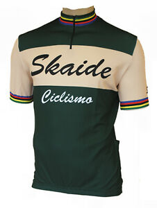 Radtrikot Skaide Ciclismo Retro grün/creme kurzarm (auch Übergrößen bis 6XL)