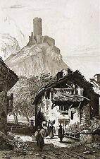 MARTIGNY VILLE CHÂTEAU DE LA BÂTIAZ WALLIS VALOIS ORIGINAL 1838 SUISSE SCHWEIZ