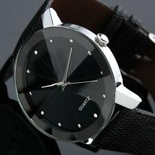 Hombre Deluxe Deporte Reloj De Cuarzo Acero Inoxidable Dial Cuero Pulsera Negro