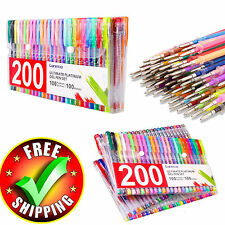 Colored Gel Pens 200 Pack Set Lot Metallic Glitter Color Quality Office Ink Pen