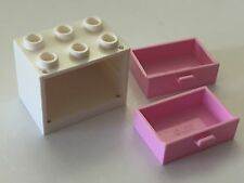 *NEW* 1 Lego WHITE Container CUPBOARD 2x3x2 with BRIGHT PINK DRAWERS 4532 4536