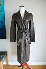 BCBG Maxazria Brown Leather Long Trench Coat Size 0