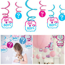 12pcs Swirls Hanging Decorations Boy or Girl Gender Reveal Baby Shower Party