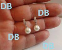 0.12Ct round Diamond Pearl Stud Earring Women's Stud Earring 14K White Gold Over