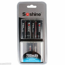 New 4pcs Soshine 14500 AA 3.2V 700mAh Rechargeable LiFePO4 Battery and 2 connect