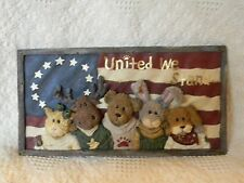 Boyds J.B. BEARYPROUD and PALS Wall Plaque ~ heavy rustic resin