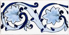 """Handbemalte spanische Bordüre, 10x20 cm, """"Cenefa Antigua"""", Wandfliese Blau Weiß"""