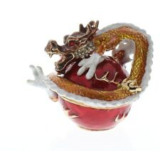 Jeweled Red Dragon on a Fire Orb Ciel Collectible Hinged Trinket Box
