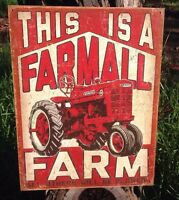 This Farmall Farm Tractor Tin Metal Sign Garage Classic International Harvester