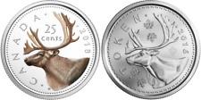 2Pieces CARIBOU: RCM Security Test Token, 2018 Quarter 25Cent Silver Coin Canada