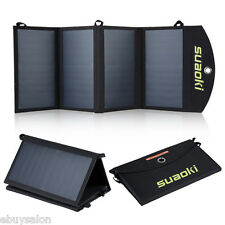 25W Foldable Solar Panel External Battery Charger 2USB Power Bank for Cell Phone