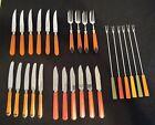 Lot of Vintage Bakelite Handle Flatware 27 pieces Forks, knifes , butter knifes