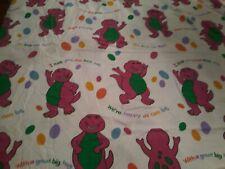 VTG 1992 Lyons Group BARNEY TWIN FLAT SHEET Flannel Purple Dinosaur SPOTLESS EC