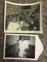 Two Vintage B&W Snapshot Photos Of People In Halloween Costumes