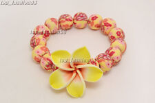 1pcs Yellow Flower Handcraft Polymer Clay Bead Stretch Bracelet Gift FREE