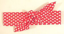 HEADWRAP HAIR WRAP BANDANA RED AND WHITE HEARTS LADIES GIRLS NEW