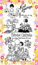 """FLONZ """"Young Girls with Flowers"""" clear stamps set 263 vintage unmounted acrylic"""