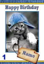 FREE P/P  CUTE KITTENS Card (assorted designs) ANY Occasion  - Personalised - A5