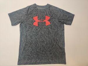 Under Armour Boys S/S T-Shirt Youth XL YXL Heatgear Loose Fit Black Grey Spotted