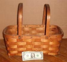 Vintage Oak Woven Wood Splint Picnic Gathering Basket Swing Handle Old Primitive